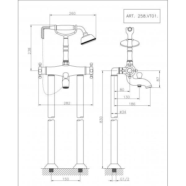 mitigeur thermostatique bain douche sur plancher huber gamme victorian mondial robinet. Black Bedroom Furniture Sets. Home Design Ideas
