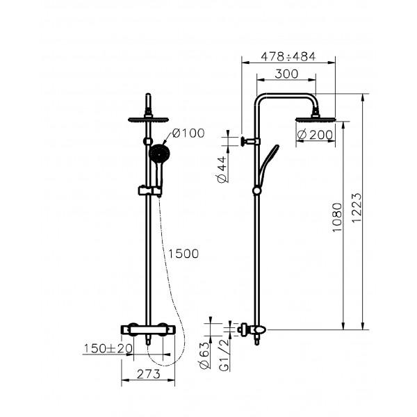 Ensemble thermostatique douche huber gamme h3 mondial robinet - Ensemble douche thermostatique ...