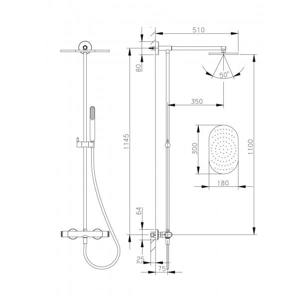 Ensemble thermostatique douche mural 2 fonctions safe touch huber gamme lev - Ensemble douche thermostatique ...